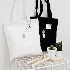 [Siêu Hot]Túi tote vải bố đựng đồ canvas đi học,đi làm hình cây xương rồng Hot Trend có kháo kéo tiện dụng-BALOHA