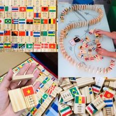 Bộ Domino cờ các nước | Trò chơi xếp cờ Domino 100 quốc gia bằng gỗ cho bé | Đồ chơi xếp gỗ tạo hiệu ứng Domino in hình lá cờ nhiều nước
