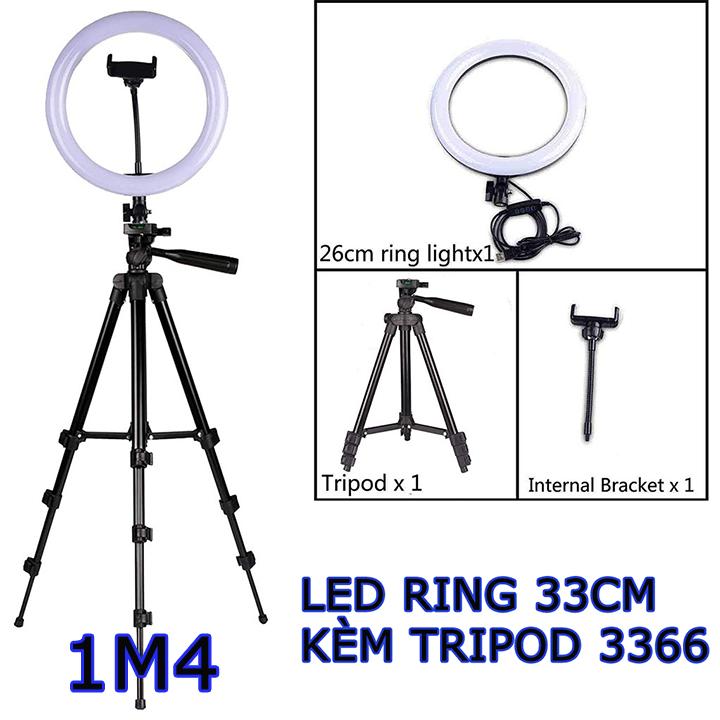 Đèn led livestream 33cm (Φ33) 3 chế độ đèn tích hợp giá đỡ điện thoại