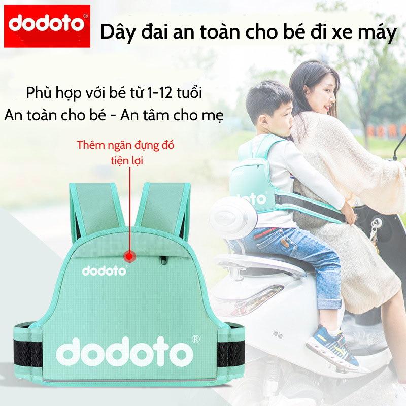Đai đi xe máy cho bé từ 1-12 tuổi dodoto, địu ngồi xe máy cho bé chống ngã, đai ngồi xe máy đeo vai, thắt lưng, đai ngực