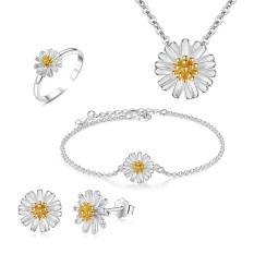 HOT Sét bộ trang sức hoa Cúc gồm: Bông tai, Nhẫn, Lắc tay, Dây chuyền phong cách chủ đề NẮNG BAN MAI mạ bạc Ý 925 sang chảnh