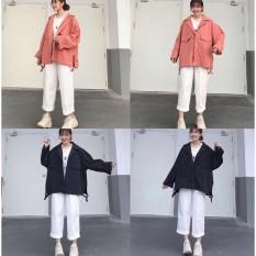 Áo khoác nữ Kaki HARA Form rộng Unisex – Kiểu áo khoác KHÓA KÉO Phong Cách Ulzzang – Leevin Store