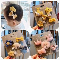 Set 5 kẹp tóc xinh xắn dễ thương phong cách Hàn Quốc cho bé yêu bìa vuông