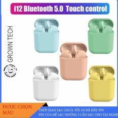 Tai Nghe Bluetooth Mini GROWNTECH I12 TWS V5.0 Nút Cảm Ứng, Có Pop-Up, Tương Thích Với Các Dòng Smartphone, Tích Hợp Mic Nói Chuyện Điện Thoại, Đi Kèm Dock Sạc Dự Phòng, Âm Bass Sống Động