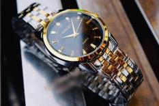 đồng hồ nam halei dây pha vàng mặt đen,mã số HL0220,chống nước,chống xươc