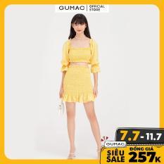 Áo kiểu cổ vuông ôm nhún trễ vai GUMAC AB782