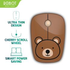 [Bảo Hành 12 tháng] Chuột không dây ROBOT M220 2.4GHz Khoảng cách tín hiệu 20m công nghệ cảm biến quang học 1600DPI – Hàng chính hãng