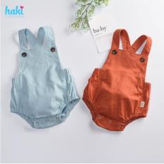 Bộ romper linen lưng chun cho bé trai bé gái Haki BL001, bộ body cho bé, baby bodysuit, set áo liền quần cho bé từ 6-13kg