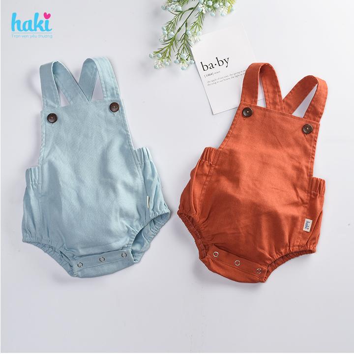 Bộ romper linen lưng chun cho bé trai bé gái Haki BL001, bộ body cho bé, baby bodysuit, set áo...