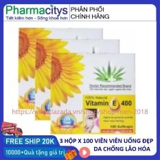 Combo 3 hộp vitamin E mỗi hộp 100 viên đẹp da chống lão hóa giảm nám mờ vết nhăn – HSD 2023 – shop men 2018