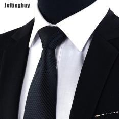 Jettingbuy Jacquard Dệt Mới Cổ Điển Sọc Cà Vạt Nam Bộ Đồ Lụa Ties Cà Vạt Đen