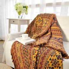 Thảm phủ sofa, khăn trải sofa thổ cẩm, phong cách vintage, bohemian họa tiết vàng rực rỡ