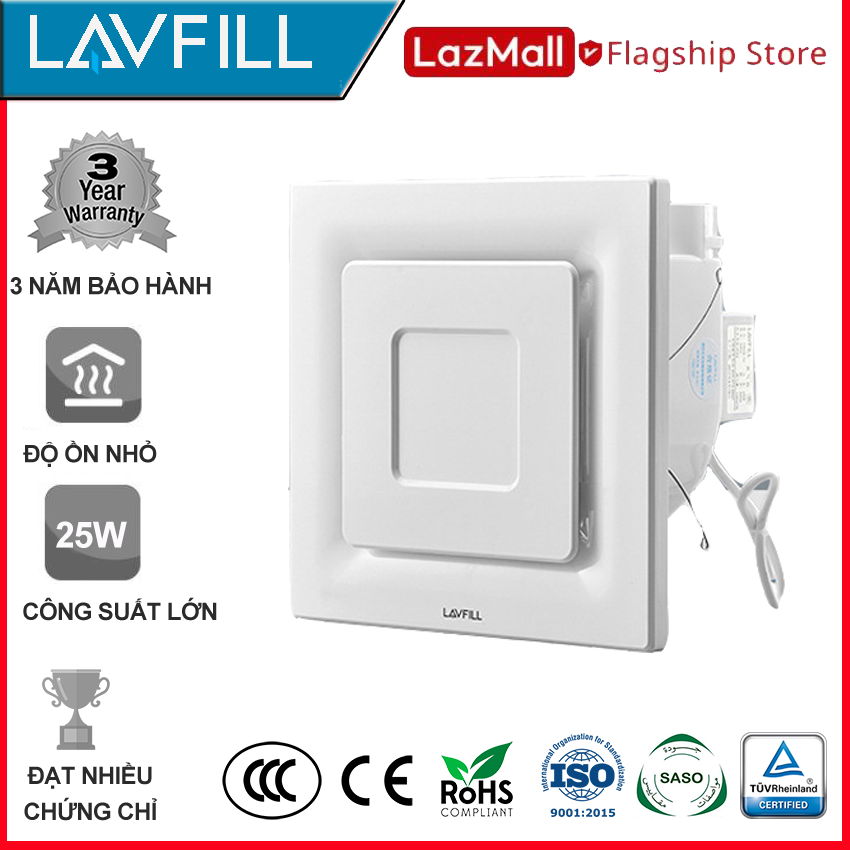 Quạt thông gió âm trần 250×250 mm, Quạt hút âm trần nhà tắm, phòng vệ sinh với BỀ MẶT QUẠT PHẲNG VUÔNG, dễ vệ sinh lau chùi, không bám bẩn, không ồn hãng LAVFILL LFCV-12L
