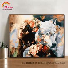 Tranh tô màu theo số sơn dầu số hóa Tranh con người và thiên nhiên Cô gái và chó sói CN0822
