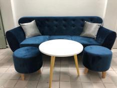 SF – Bộ sofa băng xanh dương nhung đậm 1m9x80, ghế sofa phòng khách, salon, sopha, sa lông, sô pha