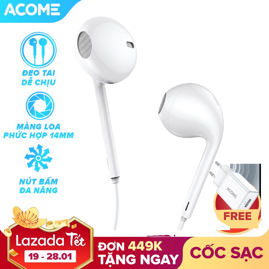 [Bảo Hành 12 Tháng] ACOME AW01 Tai nghe nhét tai có dây âm thanh HD trong rõ nghe nhạc chơi game có micro đàm thoại cổng 3.5mm – Hàng Chính Hãng