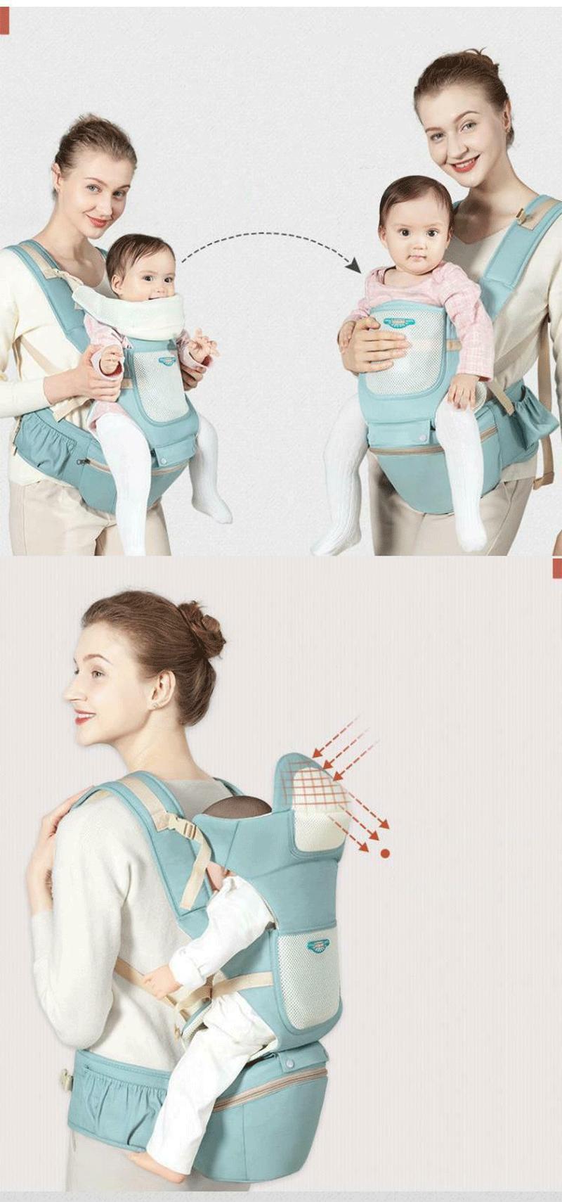 [ĐƯỢC CHỌN MÀU-ĐẠI HẠ GIÁ] Địu em bé đa tư thế có đỡ cổ và ghế (bệ ngồi) chống gù, điệu mềm trẻ sơ sinh đến dưới 20kg cho bé em – đai địu em bé – MMHANG31
