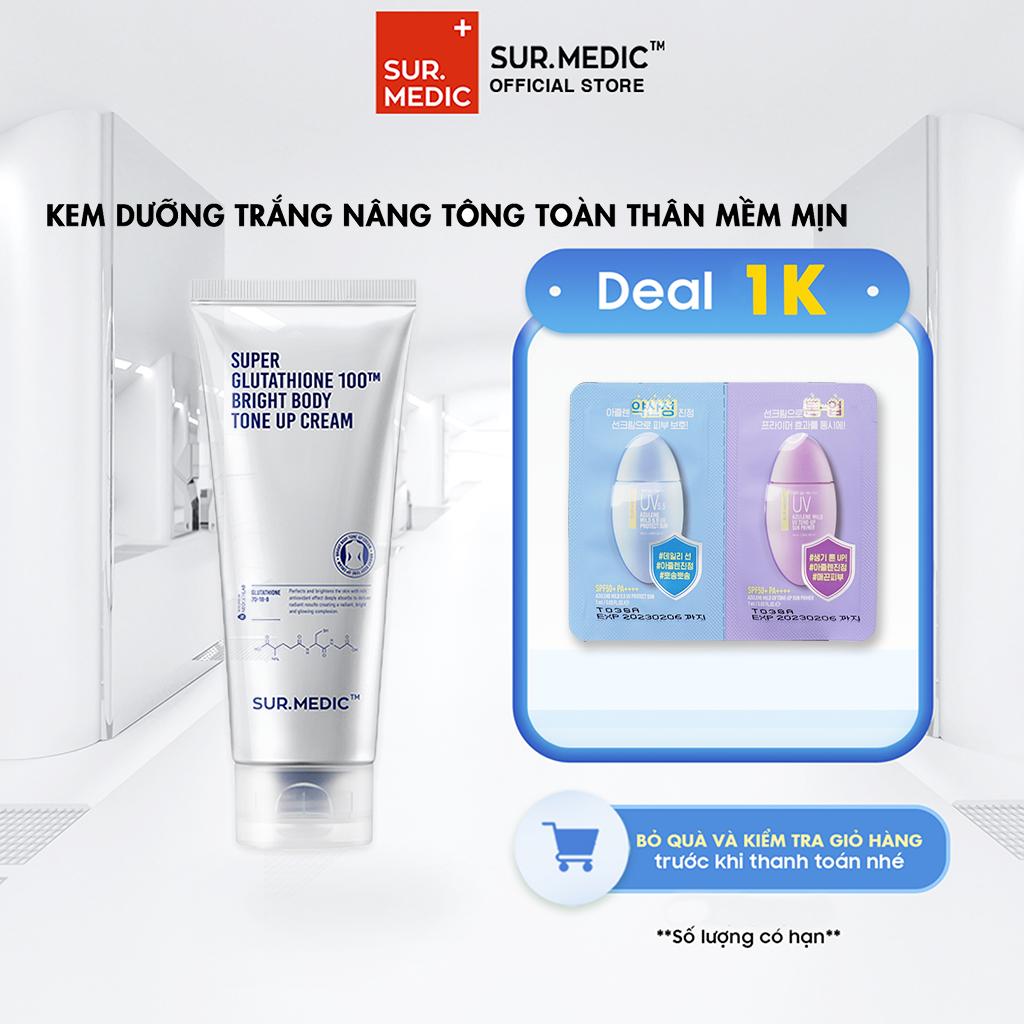 Kem Nâng Tone Da Toàn Thân Super Glutathione 100TM Bright Body Tone Up Cream 150ml