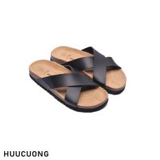 Dép HuuCuong quai chéo đen đế trấu