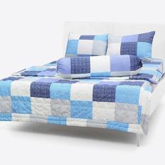Bộ Drap Cotton Thắng Lợi kèm mền chần gòn { 5 MÓN } 2 người =1,6 M X 2m; hoặc king= 1m8 x 2m – CHUẪN LOGO