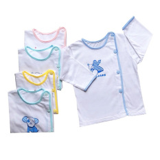 Áo sơ sinh dài tay cài lệch màu trắng Thái Hà Thịnh 100% cotton mềm, mịn, mát