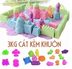 Combo 3kg cát động lực Kèm khuôn Phương tiện giao thông, lâu đài và động vật – Cát khu vui chơi- Cát vi sinh không dính tay, không ra màu Smart Baby
