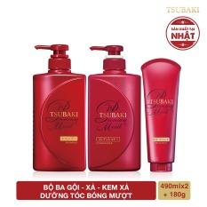 Bộ ba dầu gội – dầu xả – kem xả dưỡng tóc bóng mượt Tsubaki Premium Moist
