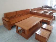 Bộ bàn ghế sofa trứng góc gỗ sồi