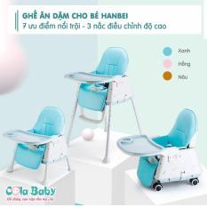 Ghế ăn dặm Hanbei 3 nấc điều chỉnh độ cao, full đệm ghế, ghế ăn dặm cho bé có bánh xe