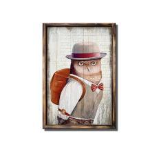 Tranh treo tường gỗ sơn dầu Vintage (40x60cm) – Cú Tiến Sỹ