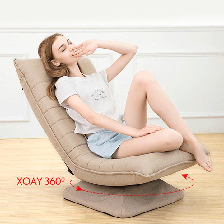 Ghế lười, ghế sofa ghế thư giãn xoay 360 độ, khung thép, vải cotton mềm mịn, có thể tháo ra vệ sinh (ME HOME)