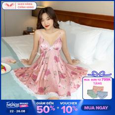 Váy đầm ngủ sexy nữ 2 dây Lụa Pháp họa tiết hoa cúc đỏ phối viền ren trắng gợi cảm Hàng thiết kế Vingo VNGO N305