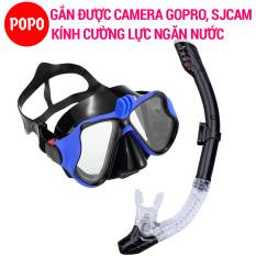 Bộ kính lặn GOPRO, Ống thở ngăn nước, MẮT KÍNH CƯỜNG LỰC, gắn được GOPRO, SJCAM, Camera hành trình – POPO Collection