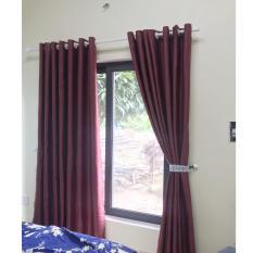 Màn, Rèm cửa Vải Gấm chống nắng Ngang 200cm CAO tùy chọn ( MÀU ĐỎ ĐÔ VÂN CHÌM ĐƠN SẮC ), Sử Dụng Làm màn treo cửa sổ, màn rèm cửa treo cửa chính, màn cửa ngăn phòng, Màn cửa chống nắng