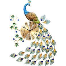 Đồng hồ trang trí chim công đậu cành mai WM88X (treo đứng)