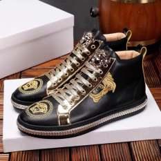 Giày cao cổ vê sạc đen dây mạ vàng mới