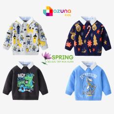 Áo len cho bé AZUNA WELLKIDS áo len phối cổ sơ mi họa tiết đáng yêu hàng xuất khẩu