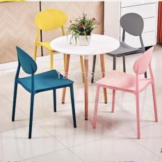 Bộ Bàn Ăn AZP Star Gỗ Sồi 60cm Tròn và 4 ghế Plastic cao cấp nguyên khối 004