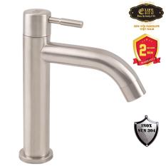 (Có video) Vòi lavabo lạnh Inox SUS 304 Eurolife EL-LL123 ( Trắng vàng )