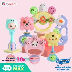 Bộ đồ chơi lục lạc 7 món cầm tay các nhân vật ngộ nghĩnh, vui nhộn dành cho bé, giúp bé tập cầm nắm, phát triển các kĩ năng cơ bản – Gutymart