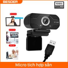 Besder 1080P Camera Web Máy Tính Xách Tay Camera Cho Máy Tính Để Bàn USB Âm Thanh Độ Phân Giải Cao Và Video Học Tập Trực Tuyến Bạn Ống Xsplit Zoom Rộng Rãi Tương Thích