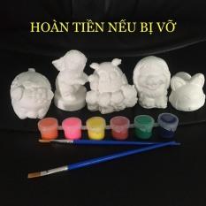 [Tặng 6 màu + 2 cọ] Combo 5 tượng thạch cao size 6-9cm – Tô tượng cho bé Smart Baby