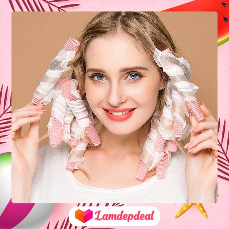 ♥ Lamdepdeal – Bộ 10 lô uốn tóc xoăn lọn tự nhiên dạng ống lưới tự dính – Tạo mái tóc thời thượng và nữ tính, đơn giản dễ sử dụng – Lô uốn tóc không nhiệt không gây hại cho tóc và da đầu.