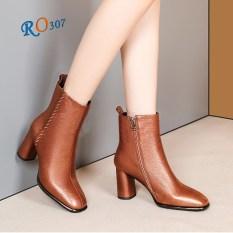 Giày bốt nữ cổ cao boot nữ đẹp cao gót 6.5cm hàng hiệu Rosata RO307