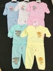 Quần áo trẻ em – Set 5 bộ dài gấu lệch khuy vai cho bé 3-14kg (hỗ trợ phí ship)
