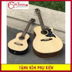 Đàn guitar acoustic âm thanh tốt dây sắt mini size 1/2 tặng kèm bao đựng phím gãy sách học dây sơ cua bảo hành điện tử