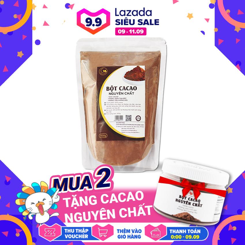 [MUA 2 TẶNG CACAO NGUYÊN CHẤT] Bột cacao nguyên chất cao cấp , không pha trộn tạp chất , dễ tan, đậm đà, Light Ca cao , 500g