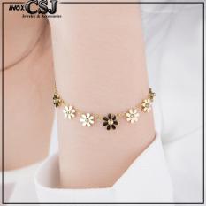 combo lắc tay , nhẫn , bông tay titan cao cấp hoa cúc màu vàng siêu cute – chuẩn thời trang mang phong cách