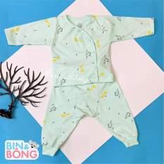 Bộ quần áo dài tay sơ sinh Unchi cho bé mẫu cúc lệch in họa tiết, quần áo sơ sinh, bộ quần áo dài tay, 5 màu cho bé lựa chọn
