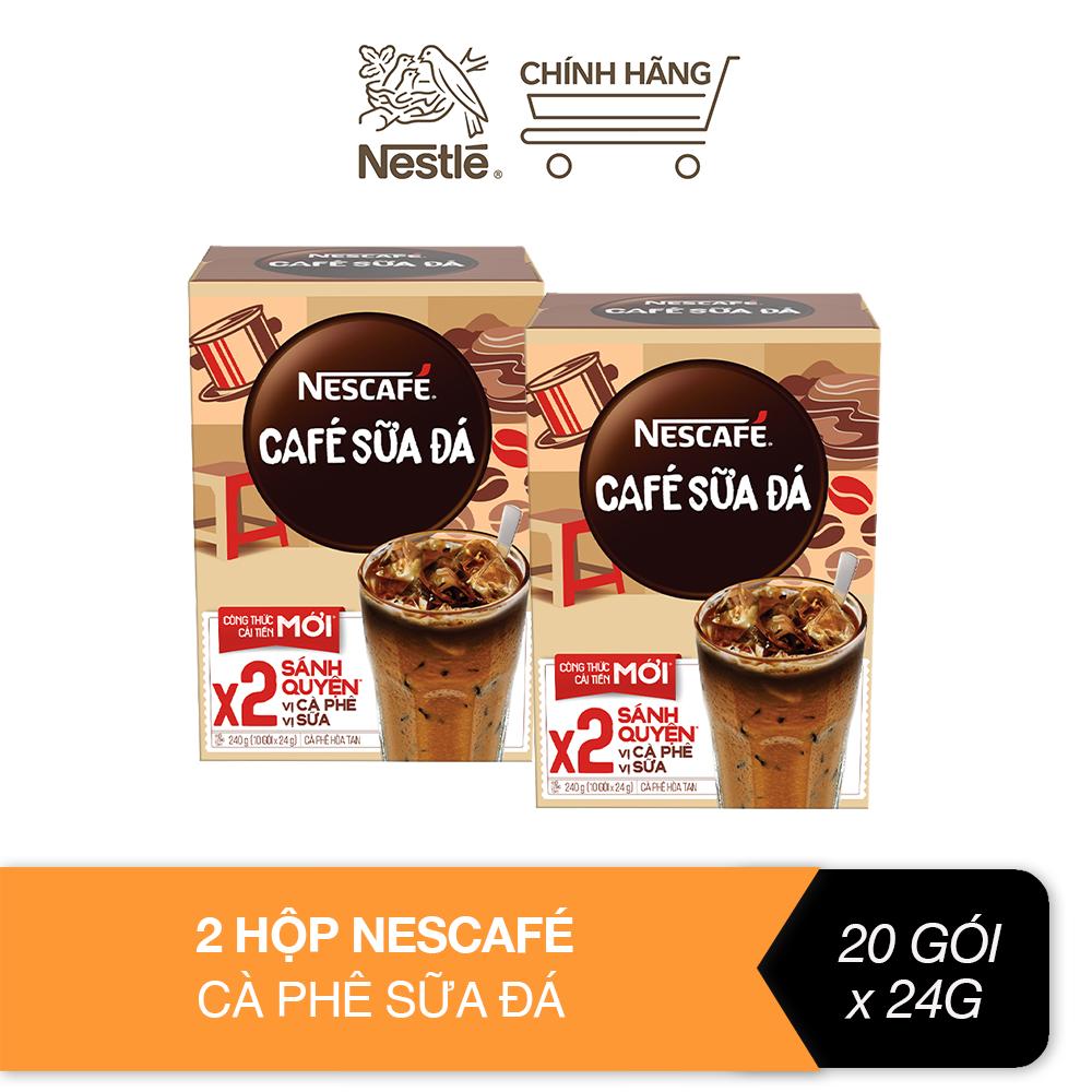 Combo 2 hộp Nescafé cà phê sữa đá (Hộp 10 gói x 24g)